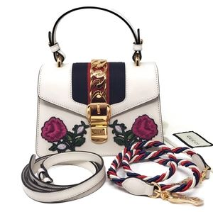 100% Auth Gucci Sylvie Mini White Embroidered New